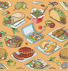 street food fastfood burger or grilled vector image