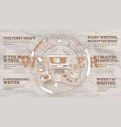 Stylish promo about writers and vector