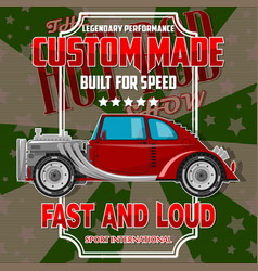 t-shirt design with hot-rod car vector image