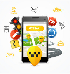 Taxi services concept mobile phone app vector