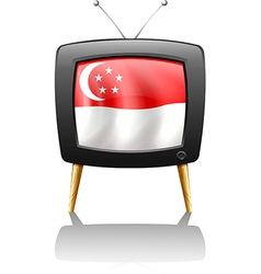 The flag of Singapore inside a television vector image