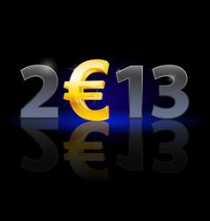 twenty thirteen year euro sign on black vector image
