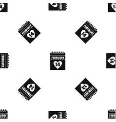 valentines day calendar pattern seamless black vector image