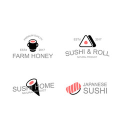 vintage japanese food and sushi soy rolls vector image