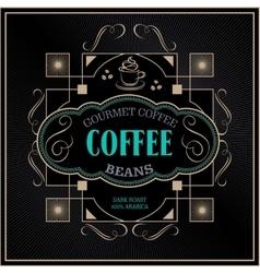 vintage victorian western frame coffee label vector image
