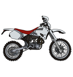 White racing terrain motorcycle vector