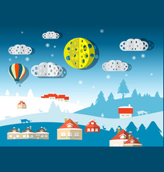 winter scene abstract paper cut flat design vector image