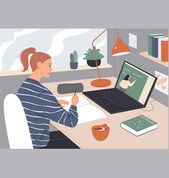 Woman watching video lecture on laptop screen vector