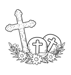 Wooden cross christianity icon vector
