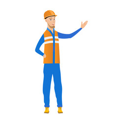 Young caucasian builder with outstretched hand vector