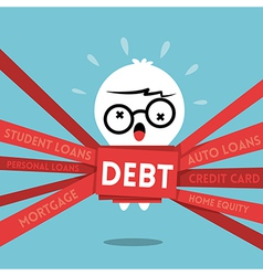 Debt concept cartoon a man wrapped up in red tape vector image