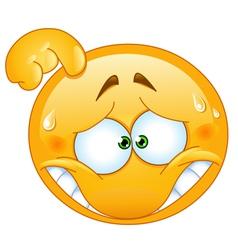 embarrassed emoticon vector image