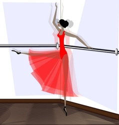 exercising of ballet dancer in red vector image vector image