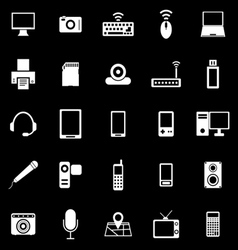 Gadget icons on black background vector image vector image