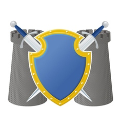 shield and towers vector image