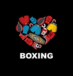 Symbol of the heart of boxing gear helmet shorts vector image vector image