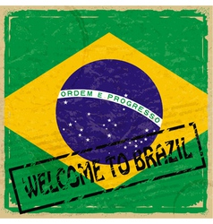 Vintage background with flag of Brazil vector image vector image