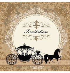 Vintage carriage invitation card vector image vector image