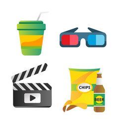 Clapper board and cinema icons vector