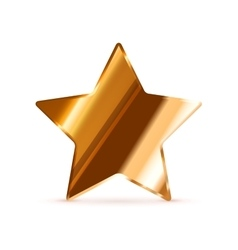 Glossy bronze rating star isolated on white vector image vector image