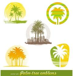 palm tree emblems labels vector image