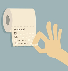 to do list on toilet paper vector image vector image