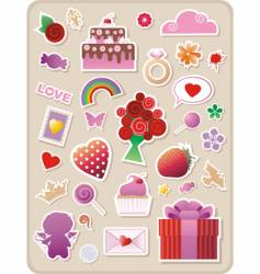 valentines stickers vector image vector image