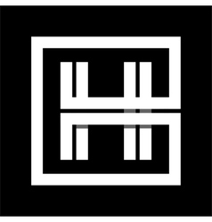 Capital letter h from white stripe enclosed in a vector