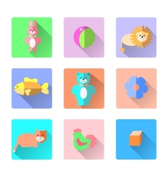 Set of colorful kids toys icons in flat style like vector image vector image