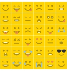Set orange square smileys vector image vector image