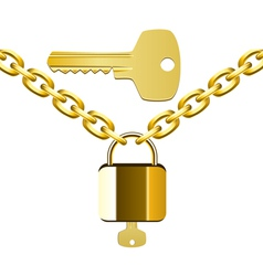 chain lock and key vector image