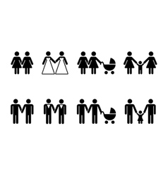 gay family with children icons white vector image vector image