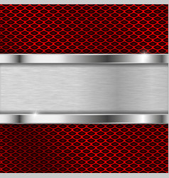 stainless steel plate on red perforated background vector image vector image