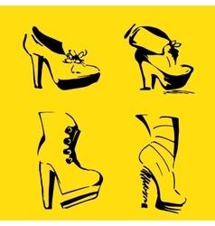 Women Heels elegant shoes and footwear vector image