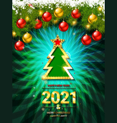 2021 gold card merry christmas banner vector image