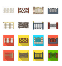 A fence of metal and brickswooden palisade a vector
