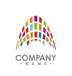 abstract square technology logo design template vector image