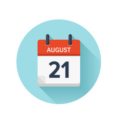 August 21 flat daily calendar icon date vector