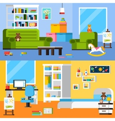 Baby Room Interiors Flat Horizontal Banners vector