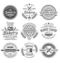 Bakery and pastries vintage black emblems vector