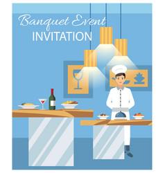 Banquet event invitation flat vector