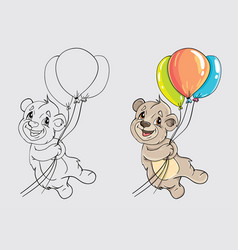 Bear with balloons for coloring the book vector