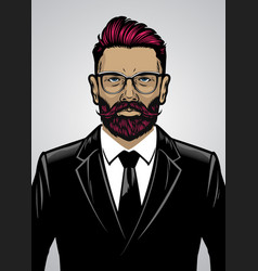 bearded hipster style man wearing suit vector image