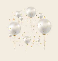 birthday poster with white balloons vector image