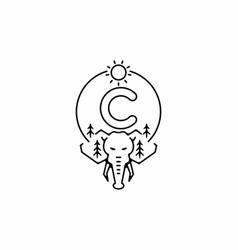 Black line art elephant head with c initial vector