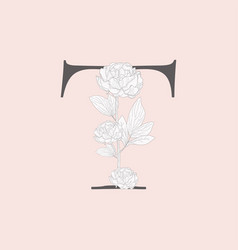 Blooming floral initial t monogram and logo vector