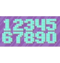 Blue pixel number set on violet vector image