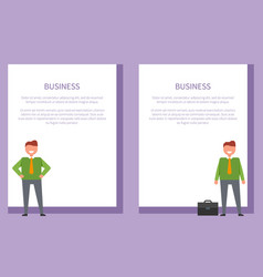 Business posters set cheerful businessmen vector