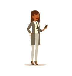 Businesswoman checking the phone business office vector