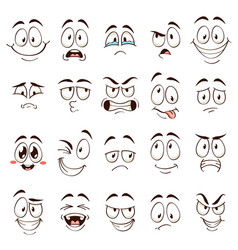 Cartoon faces caricature comic emotions with vector